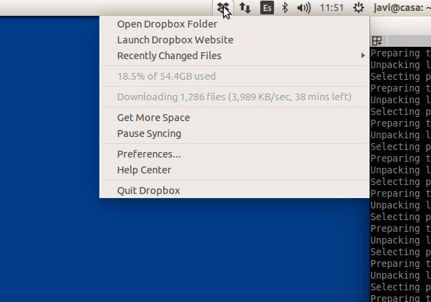icono de dropbox en ubuntu