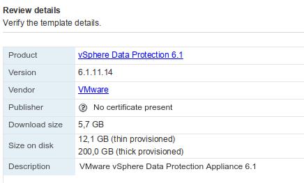 certificado VMware VDP